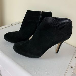 Via Spiga Black Suede Booties Stilettos NWOT 9M